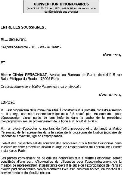 Convention d'honoraires de votre avocat à Paris 8